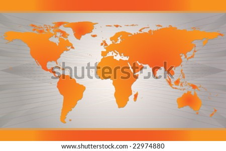 Vector Map of the world over gray modern background. Background independent can be reused. - stock vector