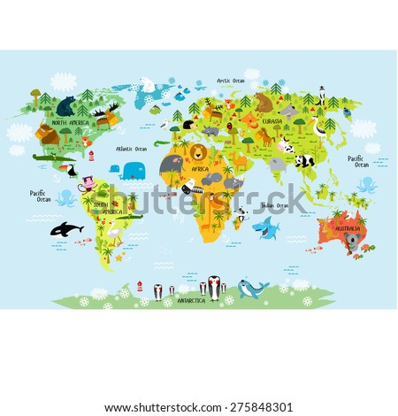 Vector map of the world with animals - stock vector