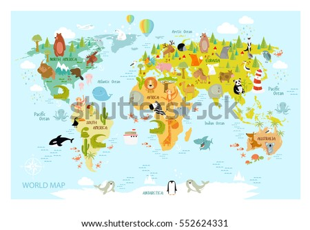 Cartoon world map animal sightseeing attractions vectores en stock vector map of the world with cartoon animals for kids europe asia south gumiabroncs Images