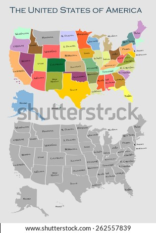 Vector map of United States of America with full names of states - stock vector