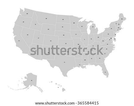 Vector map of United States of America with state codes