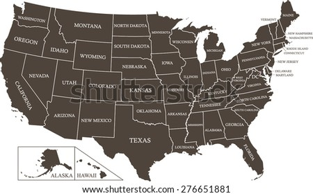 Vector map of United States with states names and capital name, Washington DC, USA map outlines with a new creative boxes, best match to the borders of Southern states, for States of Alaska and Hawaii - stock vector