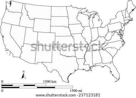 Vector map of US with mileage and kilometer scales, United States map outlines - stock vector