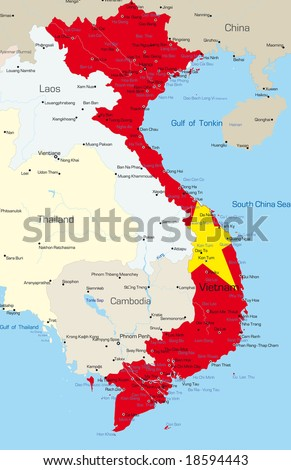 Vector map of Vietnam country colored by national flag