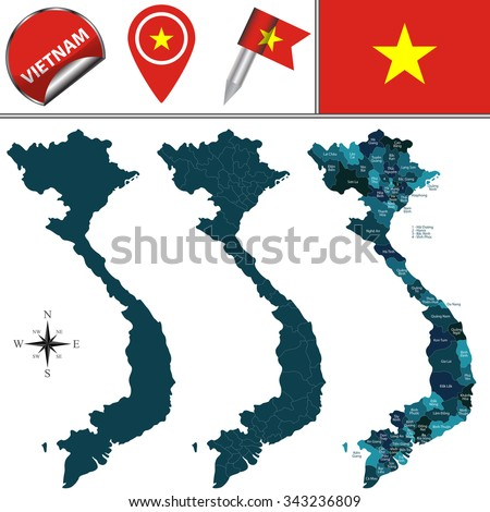 Vector map of Vietnam with named divisions and travel icons