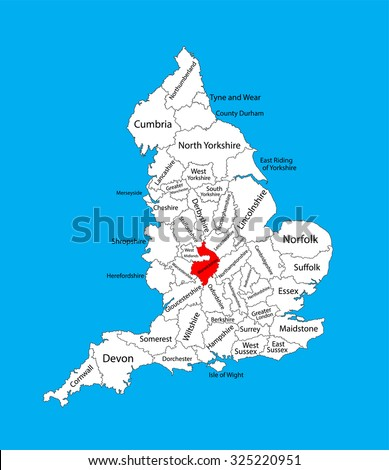 Vector map of Warwickshire in West Midlands, United Kingdom with regions. England vector map.  - stock vector