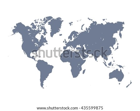 Vector map of World. Violet silhouette on white background. Simplified World map