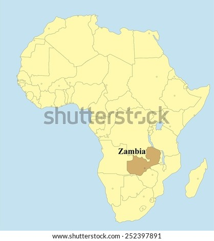 Vector map of Zambia in Africa  - stock vector