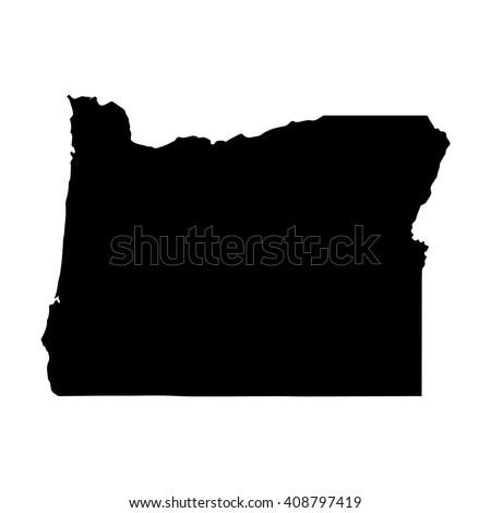 Vector map Oregon. Isolated vector Illustration. Black on White background. EPS 8 Illustration. - stock vector