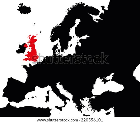 Vector map over Europe with United Kingdom - stock vector