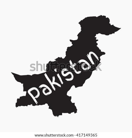 Vector map Pakistan. Gray Isolated vector Illustration. On Grey background. Typography design. EPS 8 Illustration. - stock vector