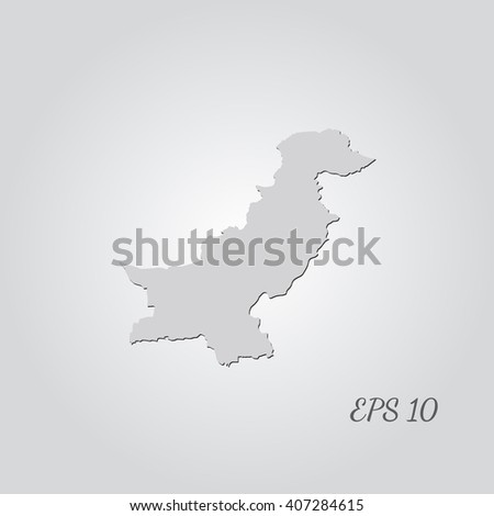 Vector map Pakistan. Isolated vector Illustration. Gray on Gradient background. With shadow. EPS 10 Illustration with an inscription. - stock vector