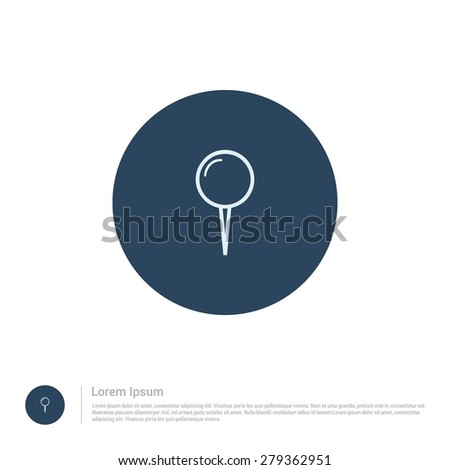 vector Map Pin icon thin line for web and mobile, modern minimalistic flat design. Vector outline icon and offset colour on light white background - stock vector