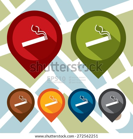 Vector : Map Pointer Icon With Designated Smoking Area Sign - stock vector