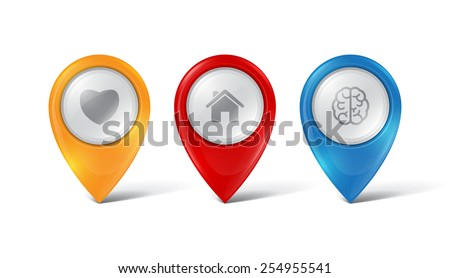 Vector map pointers - stock vector
