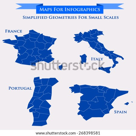 Vector map set showing the regions of France, Italy, Portugal and Spain with simplified geometries to use in small scale maps or infographics. Every region as selectable path - stock vector