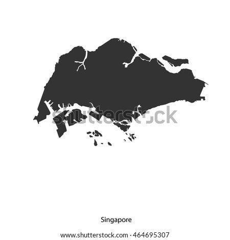 Vector Map Singaporeblack On White Background Stock Vector