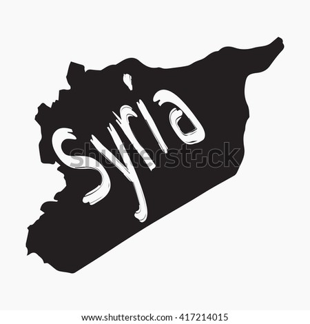 Vector map Syria. Gray Isolated vector Illustration. On Grey background. Typography design. EPS 8 Illustration. - stock vector