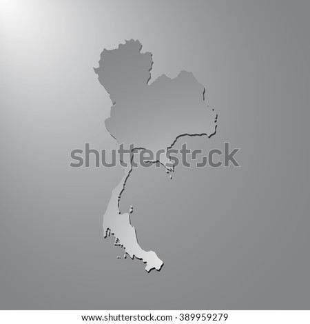 Vector map Thailand. Gray background with gradient. Isolated vector Illustration. Gray on Gradient background. With shadow. EPS Illustration. - stock vector