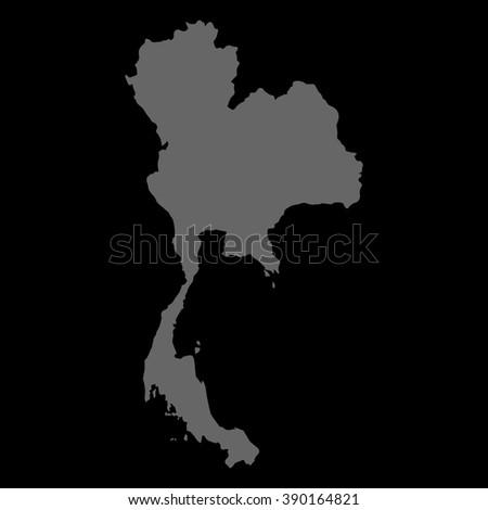 Vector map Thailand. Gray on black background. EPS Illustration. - stock vector