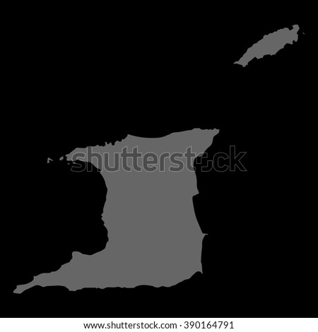 Vector map Trinidad and Tobago. Gray on black background. EPS Illustration.