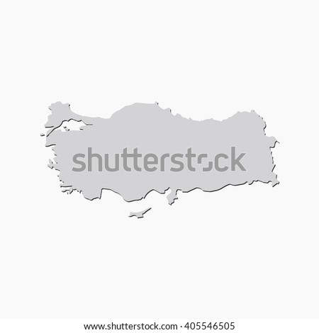 Vector map Turkey. Gray Isolated vector Illustration. On Grey background. With shadow. EPS 10 Illustration. - stock vector