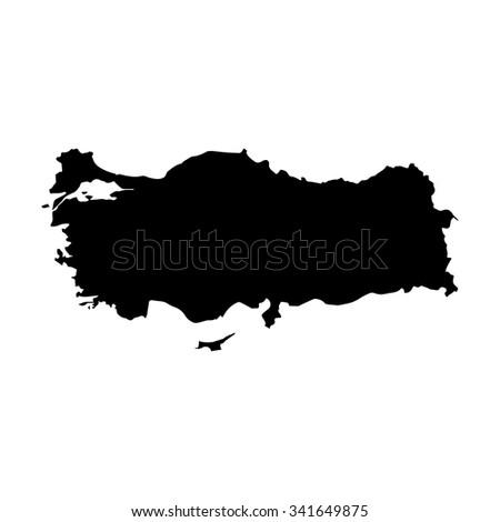 Vector map Turkey. Isolated vector Illustration. Black on White background. EPS Illustration. - stock vector