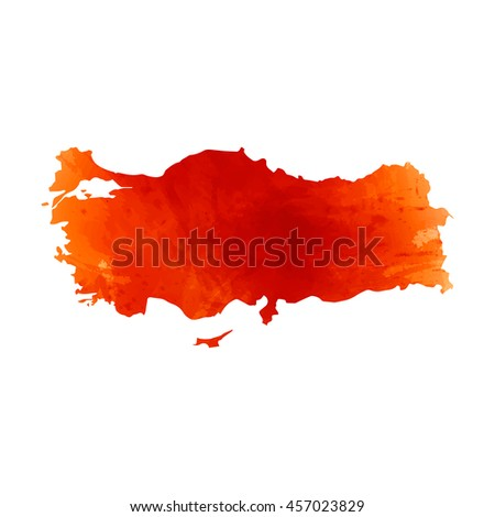 Vector map Turkey. Isolated vector Illustration. Orange watercolor effect. EPS 10 Illustration.