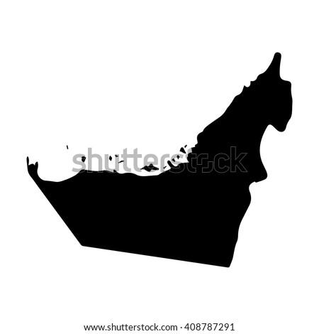 Vector map United Arab Emirates. Isolated vector Illustration. Black on White background. EPS 8 Illustration. - stock vector
