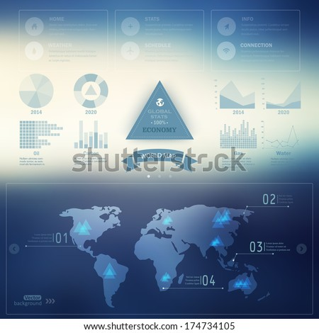 Vector map, web and mobile template. Corporate website design.  Web media backdrop.  Infographics with data icons, economic statistics. Blurred. Background. Triangle badge.  - stock vector