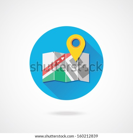 Vector Map with Label Icon - stock vector