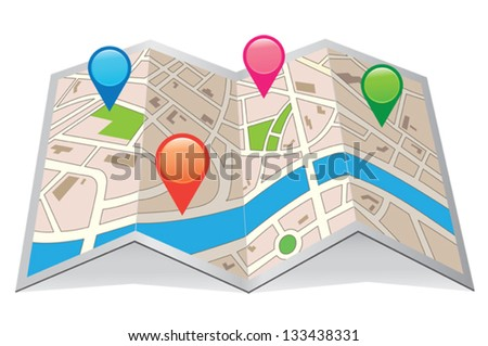 Vector map with Pin Pointer - stock vector