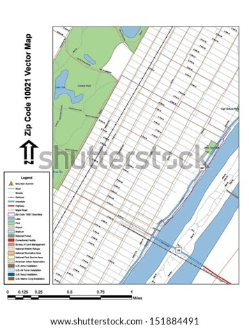 Vector map with summits,rivers, railroads, streets, lakes, parks, airports, stadiums, correctional facilities, military installations and federal lands by zip code 10021 with labels and clean layers. - stock vector