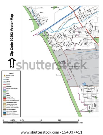 Vector map with summits, rivers, railroads, streets, lakes, parks, airports, stadiums, correctional facilities, military installations and federal lands by zip code 90293 with labels and clean layers.