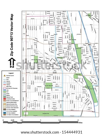 Vector map with summits, rivers, railroads, streets, lakes, parks, airports, stadiums, correctional facilities, military installations and federal lands by zip code 90713 with labels and clean layers. - stock vector