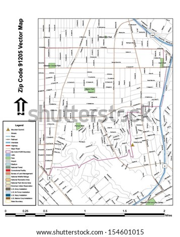 Vector map with summits, rivers, railroads, streets, lakes, parks, airports, stadiums, correctional facilities, military installations and federal lands by zip code 91205 with labels and clean layers. - stock vector