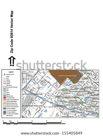 Vector map with summits, rivers, railroads, streets, lakes, parks, airports, stadiums, correctional facilities, military installations and federal lands by zip code 92614 with labels and clean layers. - stock vector