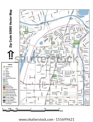 Vector map with summits, rivers, railroads, streets, lakes, parks, airports, stadiums, correctional facilities, military installations and federal lands by zip code 92865 with labels and clean layers. - stock vector