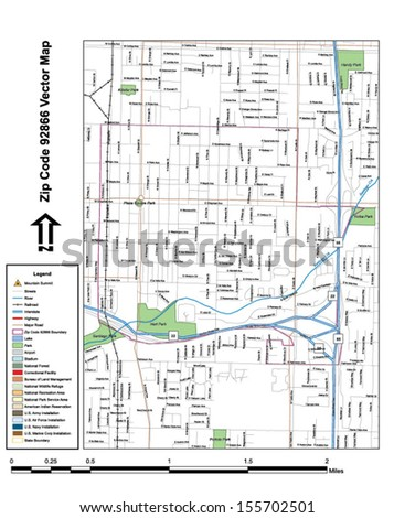 Vector map with summits, rivers, railroads, streets, lakes, parks, airports, stadiums, correctional facilities, military installations and federal lands by zip code 92866 with labels and clean layers. - stock vector