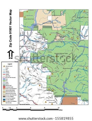 Vector map with summits, rivers, railroads, streets, lakes, parks, airports, stadiums, correctional facilities, military installations and federal lands by zip code 91901 with labels and clean layers. - stock vector