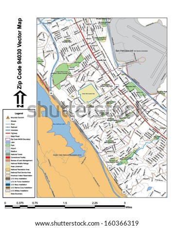 Vector map with summits, rivers, railroads, streets, lakes, parks, airports, stadiums, correctional facilities, military installations and federal lands by zip code 94030 with labels and clean layers. - stock vector