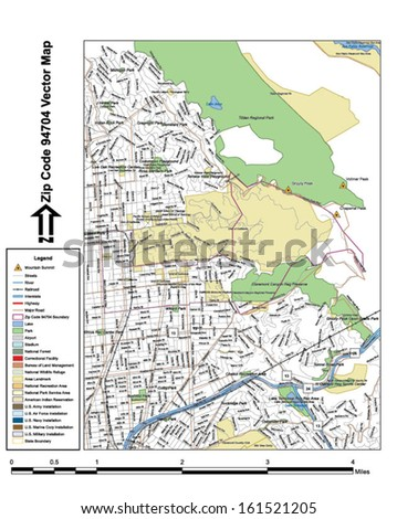 Vector map with summits, rivers, railroads, streets, lakes, parks, airports, stadiums, correctional facilities, military installations and federal lands by zip code 94704 with labels and clean layers.