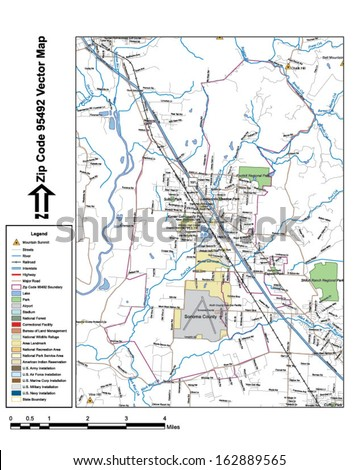 Vector map with summits, rivers, railroads, streets, lakes, parks, airports, stadiums, correctional facilities, military installations and federal lands by zip code 95492 with labels and clean layers. - stock vector