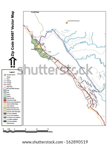 Vector map with summits, rivers, railroads, streets, lakes, parks, airports, stadiums, correctional facilities, military installations and federal lands by zip code 95497 with labels and clean layers. - stock vector