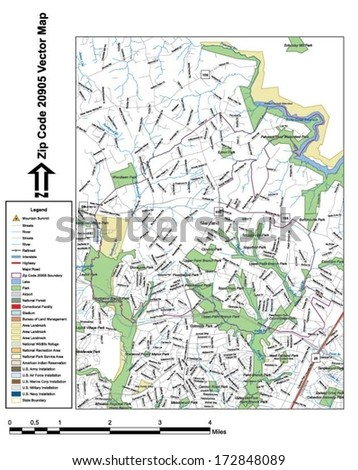 Vector map with summits, rivers, railroads, streets, lakes, parks, airports, stadiums, correctional facilities, military installations and federal lands by zip code 20905 with labels and clean layers.
