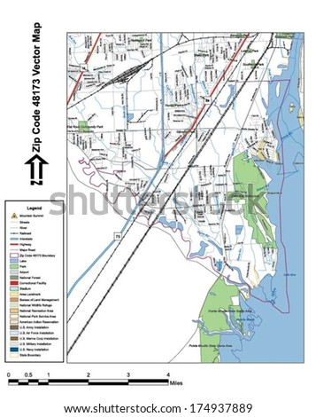 Vector map with summits, rivers, railroads, streets, lakes, parks, airports, stadiums, correctional facilities, military installations and federal lands by zip code 48173 with labels and clean layers. - stock vector