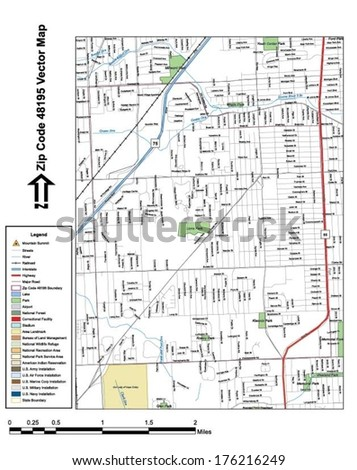 Vector map with summits, rivers, railroads, streets, lakes, parks, airports, stadiums, correctional facilities, military installations and federal lands by zip code 48195 with labels and clean layers. - stock vector