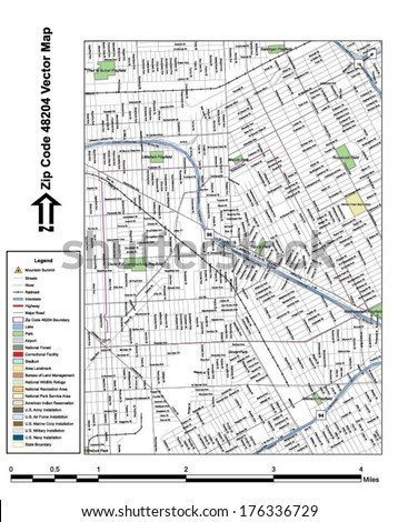 Vector map with summits, rivers, railroads, streets, lakes, parks, airports, stadiums, correctional facilities, military installations and federal lands by zip code 48204 with labels and clean layers. - stock vector
