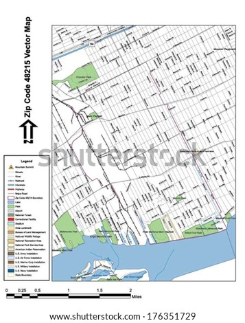 Vector map with summits, rivers, railroads, streets, lakes, parks, airports, stadiums, correctional facilities, military installations and federal lands by zip code 48215 with labels and clean layers. - stock vector