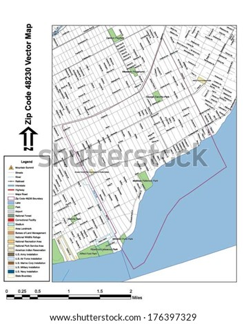 Vector map with summits, rivers, railroads, streets, lakes, parks, airports, stadiums, correctional facilities, military installations and federal lands by zip code 48230 with labels and clean layers. - stock vector